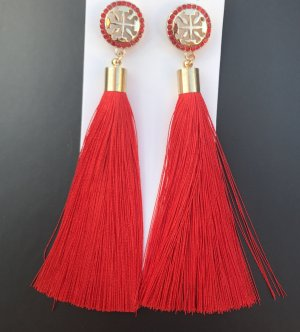 Statement Earrings gold-colored-red