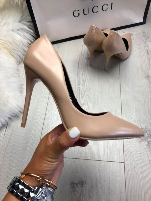 Statement Pumps High Heels Nude beige Gr. 38 NEU & OVP