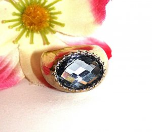 Statement Ring Gr. Ca. 17, 2 Gold Grau Blogger