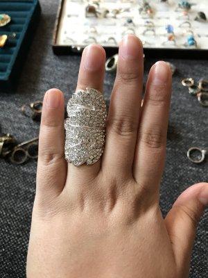 Bijou Brigitte Bague incrustée de pierres argenté