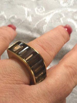 Statement-Ring Rauchquarz echtes silber vergoldet Gr. 58