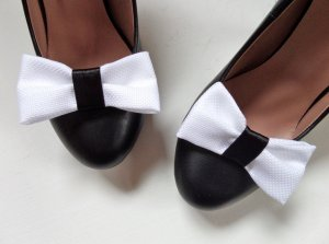 Statement Schmuck für Schuhe Schuhschmuck Dandy Weiß Schwarz Schleife Satin Schuhclips Pumps Clips Schmuckset Pin Up
