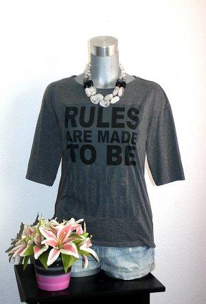 Statement Shirt gr. 40 Print Tshirt Schwarz Grau