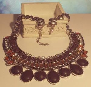 Statement silber Gliederkette, braun orange Steine, oval Blüte, Vintage Zara