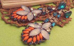 Statement silber Ohrringe, blau silber orange Steine, Blüte, Zara, Blogger, NEU