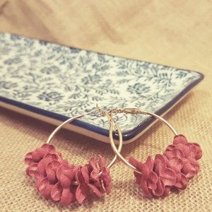 Statement Zara gold Ohrringe, rose Blätter, Blumendesign, Creolen, Hoop Earrings, NEU