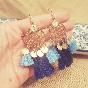 Statement Zara gold rund Ohrringe, blau Quasten, Traumfängerdesign, NEU
