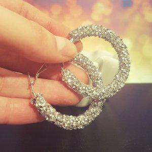 Statement Zara Ohrringe, silber Glitzer Creolen, Hoop Earrings, NEU