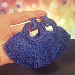 Statement Zara silber runde Ohrringe, mit blau Quasten/ Fransen, Ohrhänger, geometrisch, NEU