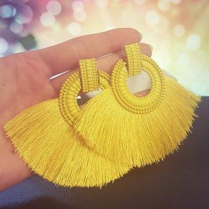 Statement Zara silber runde Ohrringe, mit gelb Quasten/ Fransen, Ohrhänger, geometrisch, NEU