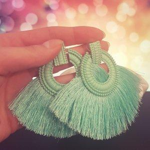 Statement Zara silber runde Ohrringe, mit mintgrün Quasten/ Fransen, Ohrhänger, geometrisch, NEU