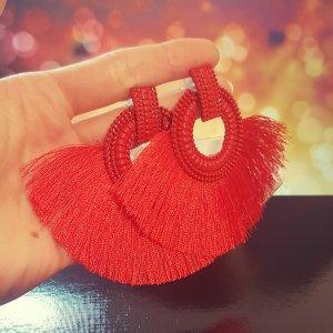 Statement Zara silber runde Ohrringe, mit rot Quasten/ Fransen, Ohrhänger, geometrisch, NEU