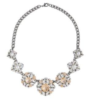 Statementkette Blüten Knospen Perlen Apricot Glassteine