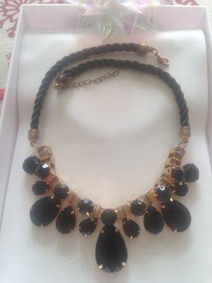 Collier incrusté de pierres doré-noir