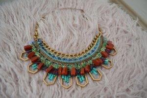 Zara Collier incrusté de pierres multicolore bronze