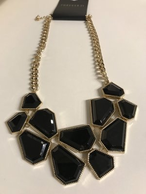 Forever 21 Statement Necklace gold-colored-black