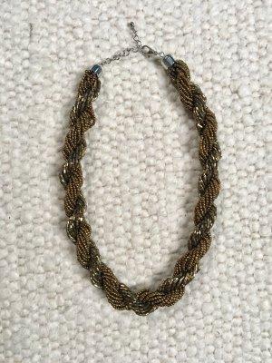 Statementkette Halskette Collier Perlen gold H&M