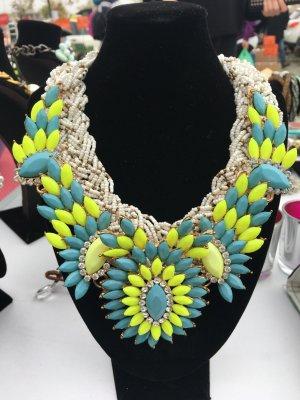 Chaîne jaune fluo-turquoise
