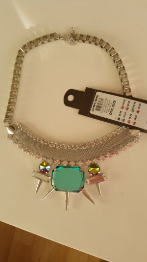 Statementkette necklace Neu pieces Smaragd Silber