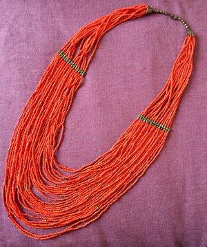 Statementkette Orange Perlen