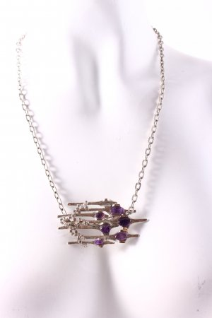 Statement Necklace silver-colored-lilac extravagant style