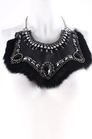 Statementkette silberfarben-schwarz extravaganter Stil
