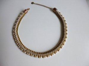 Statementkette von Hallhuber mit Perlen, gold, weiß , glitzer