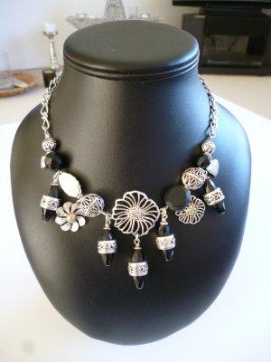 Pilgrim Statement Necklace silver-colored-black metal