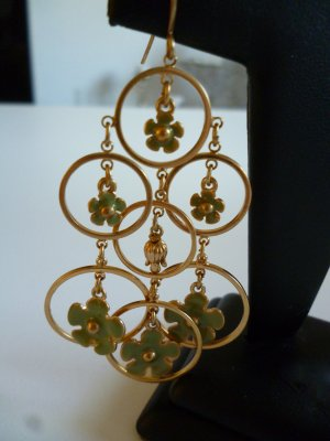 Pilgrim Statement Earrings gold-colored-grass green metal
