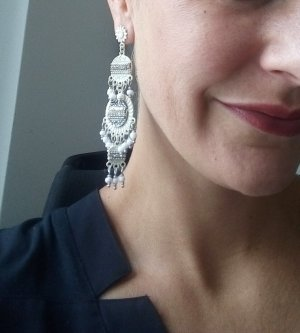 Statement Earrings white-silver-colored