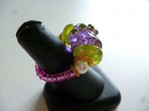 Statement Ring multicolored synthetic material