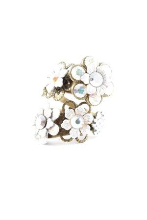 Bague incrustée de pierres bronze-blanc motif de fleur style extravagant