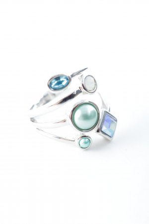 Statement Ring silver-colored-turquoise minimalist style