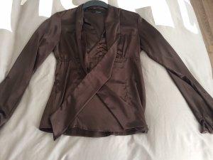 Zara Blusa collo a cravatta marrone scuro