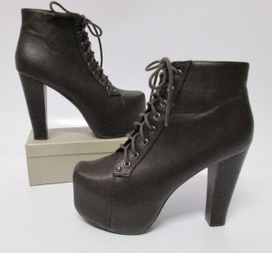 Ideal Platform Booties black brown-dark brown imitation leather