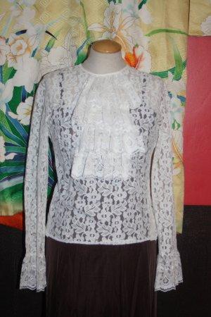 Steampunk Spitzenbluse weiß 36 Rüschen edel