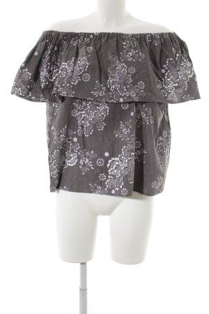 steele Carmen-Bluse grau-wollweiß Blumenmuster minimalistischer Stil
