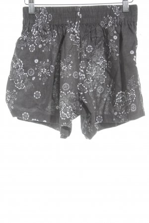 steele High-Waist-Shorts grau-weiß Blumenmuster Beach-Look