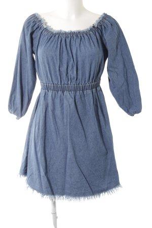 steele Robe épaules nues bleu-bleu acier style décontracté