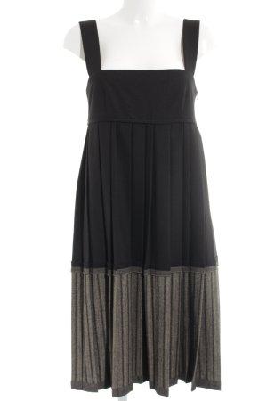 Stefanel Babydoll Dress black-oatmeal striped pattern extravagant style