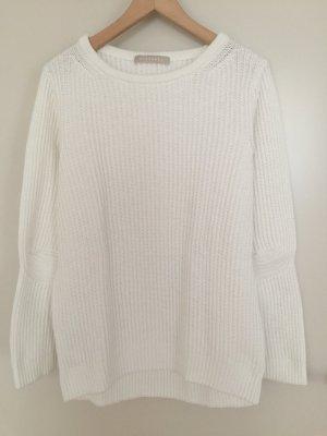 STEFANEL Baumwoll-Pullover naturweiß, Rippstrick Gr. M