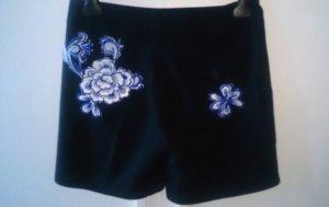 Stefanel Bermuda Shorts Dunkelblau mit Blumen Gr. 36