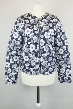 Stefanel Blouson Jacke Steppjacke Gr. 34 blau weiß Blumen Doppelreißverschluss