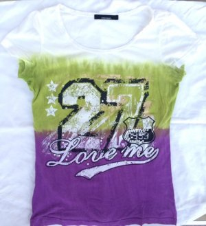 Stefanel Damen T-Shirt mit Aufdruck und Steinchen