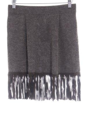 Stefanel Falda con flecos marrón grisáceo-marrón-negro look Boho