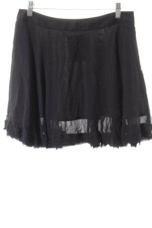 Stefanel Fringed Skirt black street-fashion look