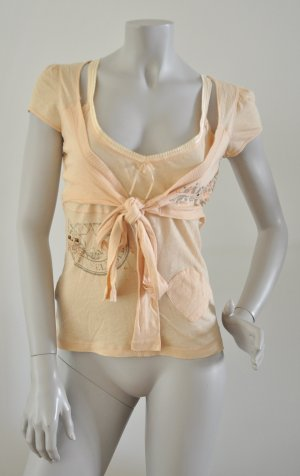 Stefanel Gold Shirt Lagenlook rosegoldene Glitzer-Details apricot Gr. M