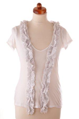 Stefanel Gold T-Shirt Rüschenleiste Baumwolle weiß mit grauen Seidendetails Gr L