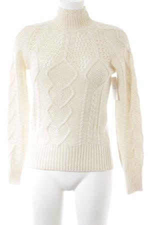 Stefanel Pullover a maglia grossa crema punto treccia stile casual