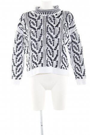 Stefanel Coarse Knitted Sweater white-black cable stitch casual look